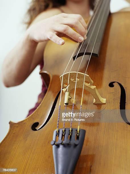Woman playing upright bass