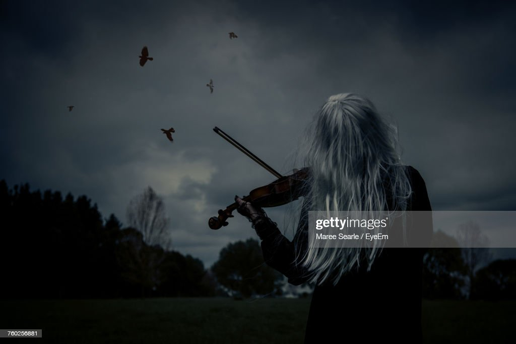 Woman Playing Violin : Stock Photo