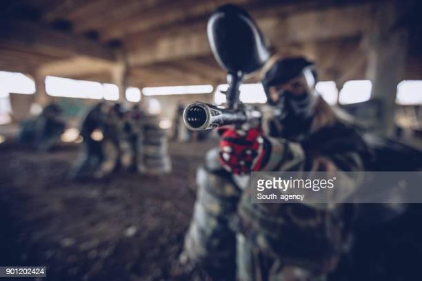 Woman playing war