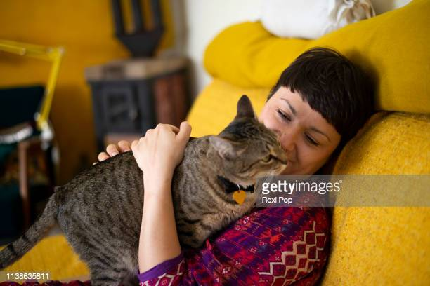 woman plays with the cat in her home - showus stock pictures, royalty-free photos & images