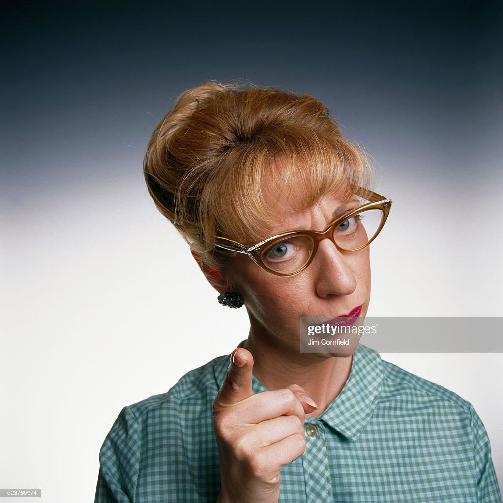 Woman Pointing Her Finger : Stock Photo