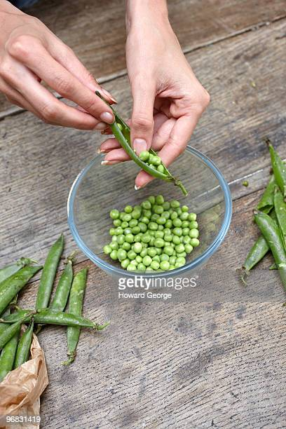 Woman popping peas from pod