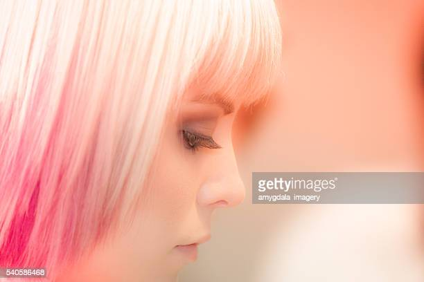 woman portrait hairstyle - bleached hair stock photos and pictures