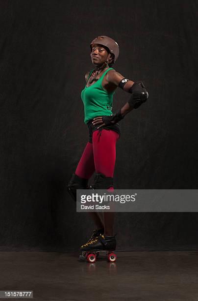 Woman portrait in roller derby gear