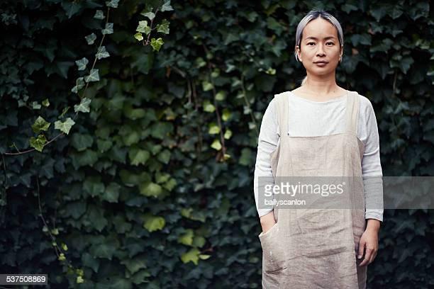 Woman, portrait outside