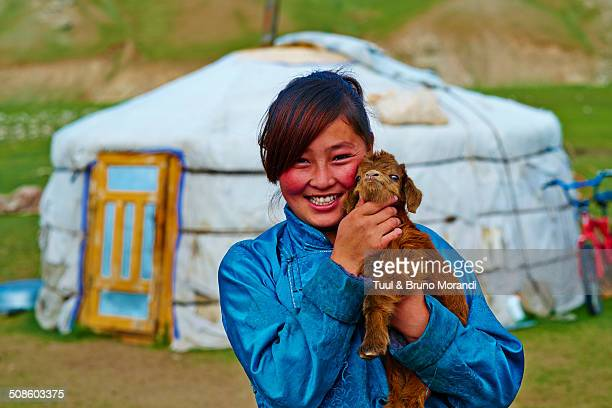 woman portrait - mongolian women stock photos and pictures