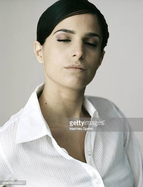 woman, portrait - open blouse stock photos and pictures