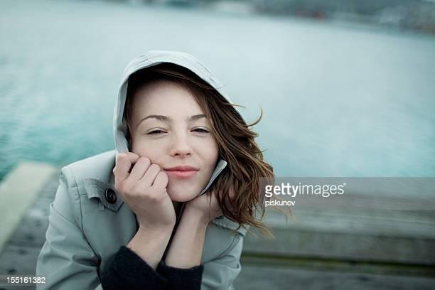 Woman portrait, windy Wellington