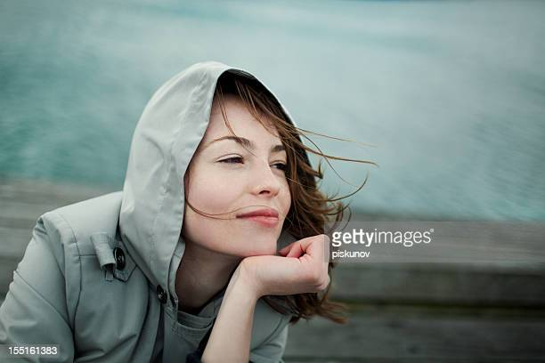woman portrait, windy wellington - wellington new zealand stock photos and pictures