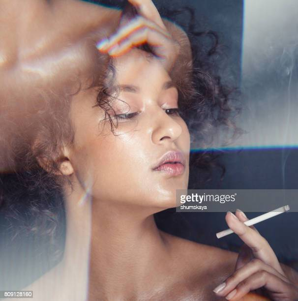 woman portrait with camera effect - girls flashing camera stock photos and pictures