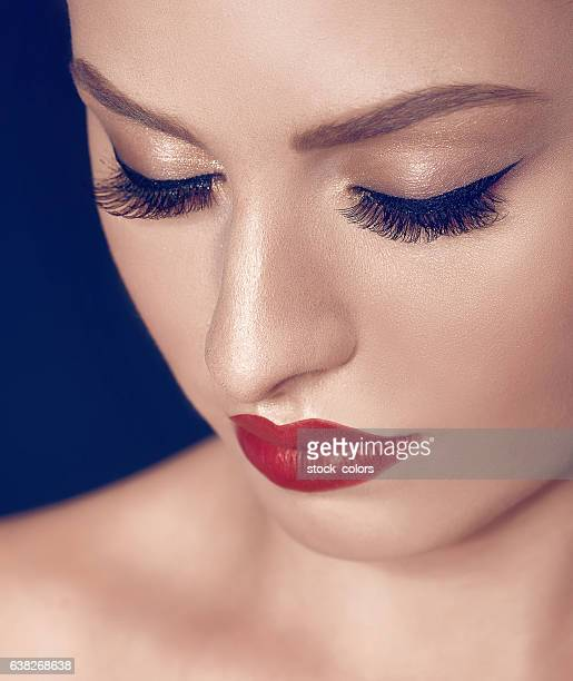 woman portrait with makeup - false eyelash stock pictures, royalty-free photos & images