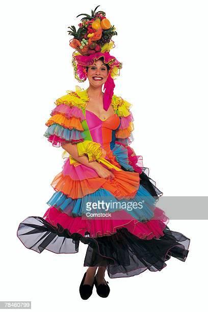 woman portraying carmen miranda - carmen miranda stock pictures, royalty-free photos & images