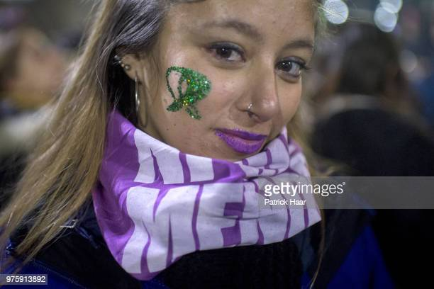 A woman poses during a rally to demand legal and free abortion at Congressional Plaza on June 13 2018 in Buenos Aires Argentina A bill to...