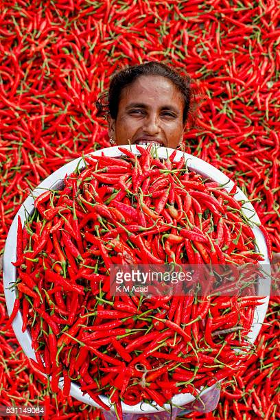A woman poses for a picture in a red chilli pepper drying factory under the sun near Jamuna River in Bogra Bangladesh on March 03 2016 Many women...