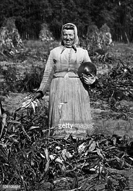 A woman poses with a pumpkin during the harvest ca 1910
