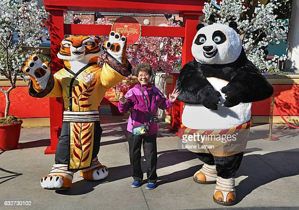 Woman poses with Tigress and Po from the 'Kung Fu Panda' film series at Universal Studios Hollywood on January 25 2017 in Universal City California
