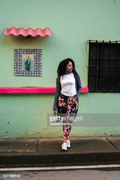 woman posing in collorfull walls - cali colombia stock pictures, royalty-free photos & images