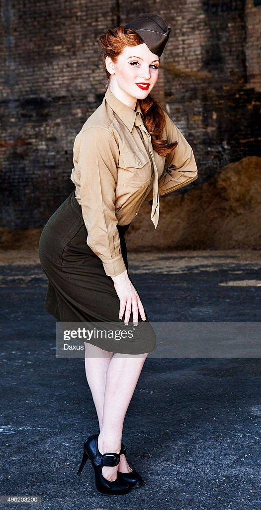 Woman Posing in WWII Nurse Uniform : Stock Photo