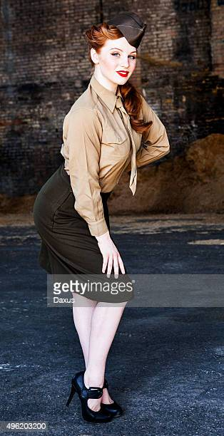 Woman Posing in WWII Nurse Uniform