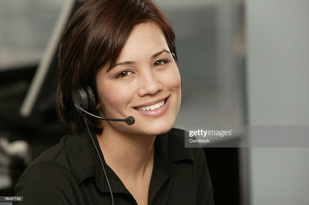 Woman posing with headset : Stock Photo