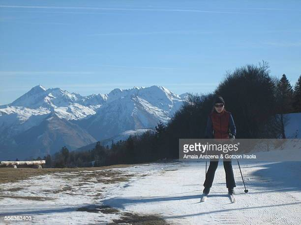 Woman practicing cross country skiing