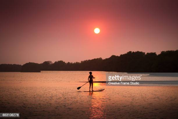 Woman practicing paddle board on a mangrove swamp