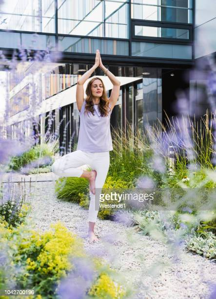 woman practicing yoga in garden outsde office building - standing on one leg stock pictures, royalty-free photos & images