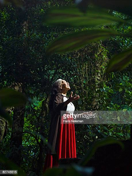 woman praising the - las posas stock pictures, royalty-free photos & images