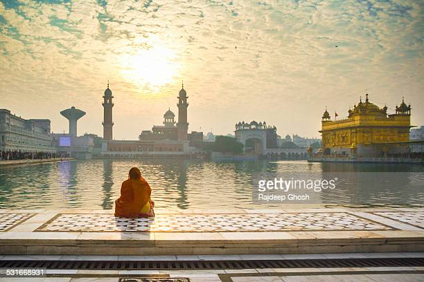 woman pray at golden temple - amritsar stock pictures, royalty-free photos & images