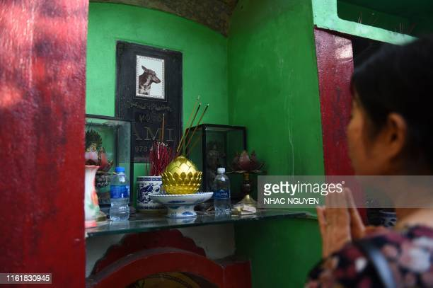 A woman prays before the plaque of her dog at Te Dong Vat Nga pagoda which means all lives are equal a cemetary for pets in Hanoi on August 15 2019...