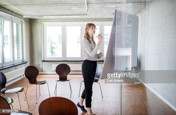 Woman preparing a group seminar