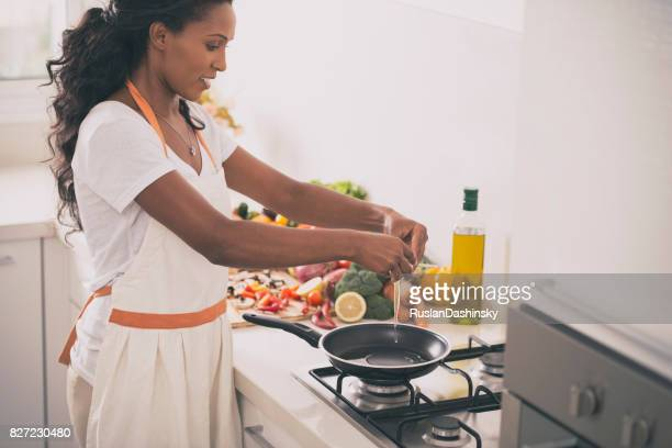 Woman preparing breakfast.