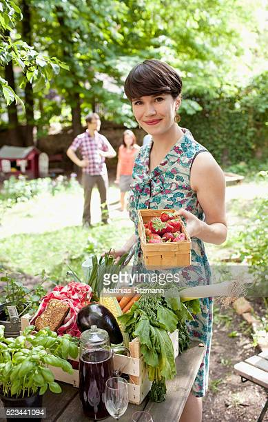 Woman preparing food for garden party