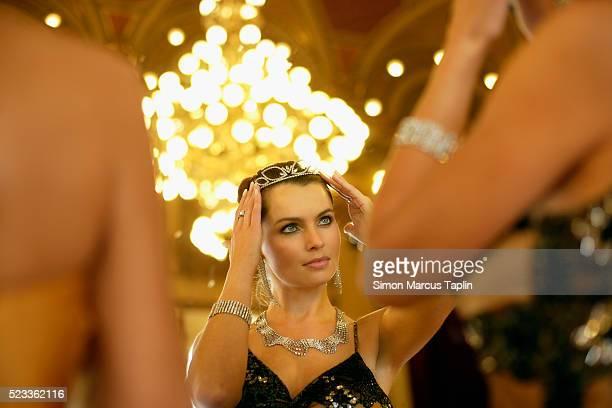 Woman Preparing for Elegant Party
