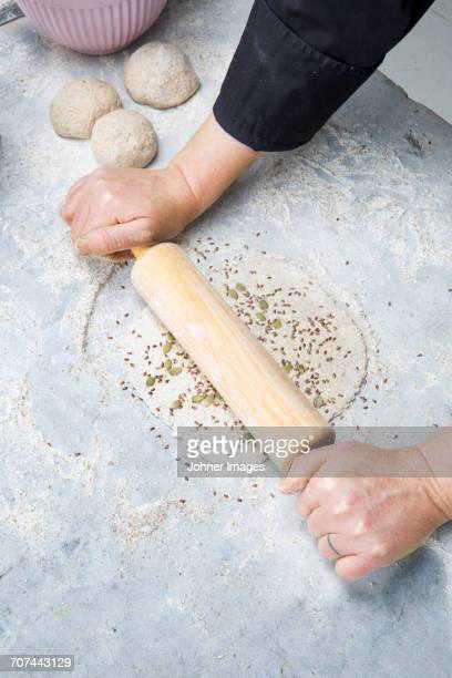 Woman preparing homemade crispbread