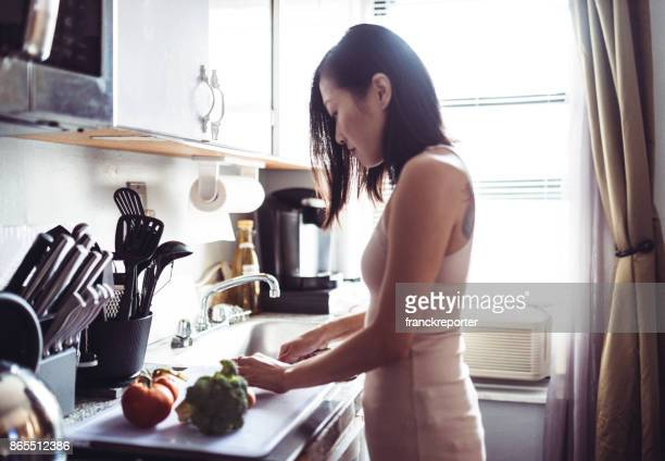 woman preparing the dinner at home