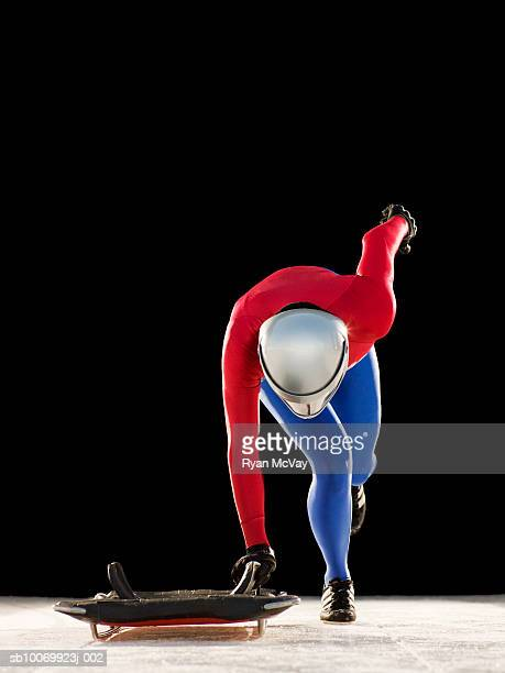 Woman preparing to race on skeleton sled