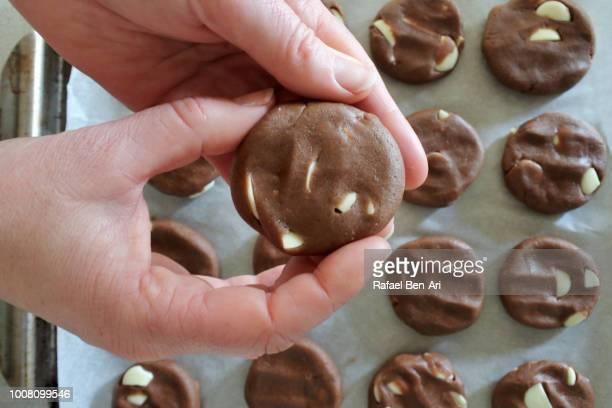 woman preparing white chocolate chip cookies on a baking tray - rafael ben ari stock-fotos und bilder