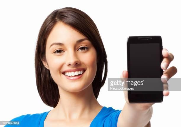 mulher apresentando um telefone inteligente-isolado - exposição - fotografias e filmes do acervo