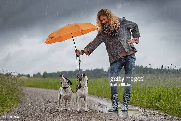 Woman protecting dogs