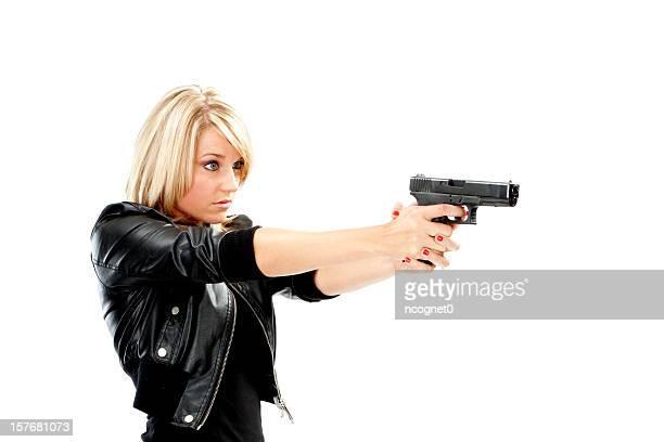 mulher protege-se - mulheres com armas imagens e fotografias de stock