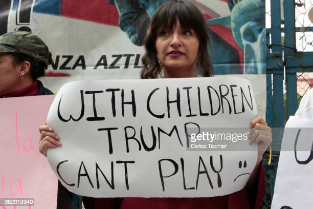 A woman protest against US president Donald Trump because of the acts of violence and discrimination that his Government has taken agaonst migrant...