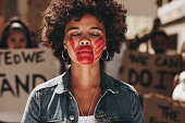 Woman protesting against domestic violence