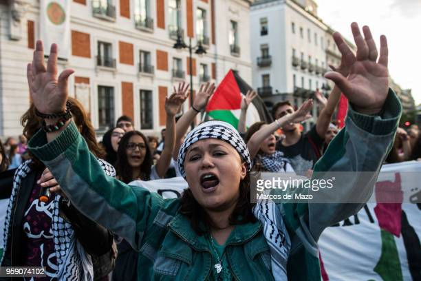 Woman protesting against the last deaths in Gaza Strip coinciding with the Nakba Day. Palestinians showed solidarity the day after Israeli army...