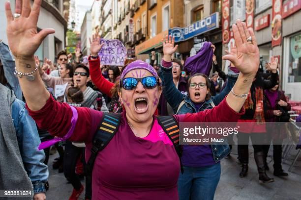 A woman protesting against the verdict of 'La Manada' case The Court of Navarra has sentence 9 years of prison to five men for sexual abuse instead...