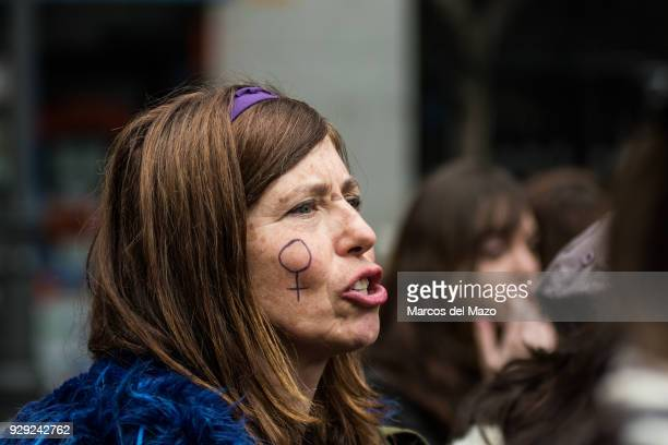 A woman protesting during the first women strike ever in Spain for the International Women's Day