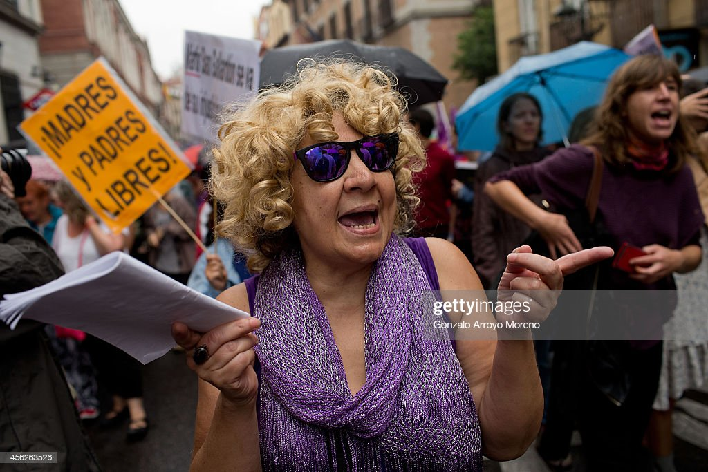 A woman protests during a demonstration supporting reproductive rights for women on September 28, 2014 in Madrid, Spain. During an international day supporting the decriminalization of abortion, thousands of people have celebrated the Spanish government's new abortion law withdrawal and the resignation of Justice Minister Alberto Ruiz-Gallardon. The protesters are also against Spanish government intentions to restrict the reproductive rights of female teenagers.