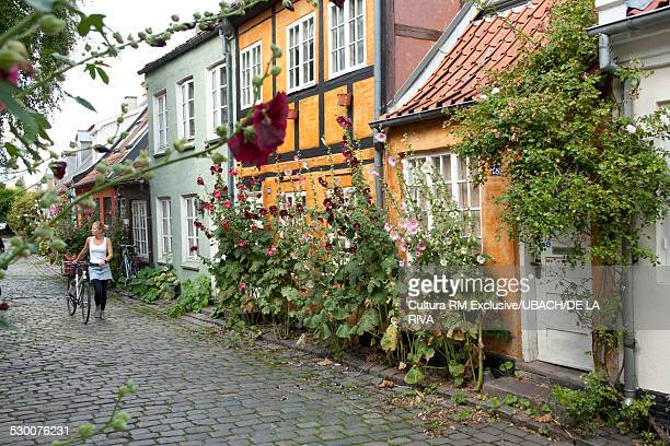 Woman pushing bicycle on cobbled street with historic houses in the old town, Aarhus, Denmark