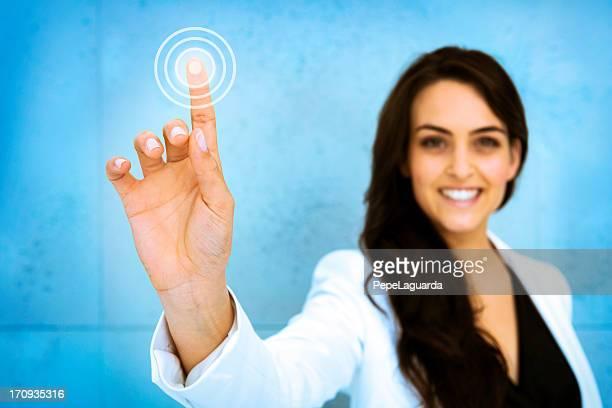 Woman pushing digital interface