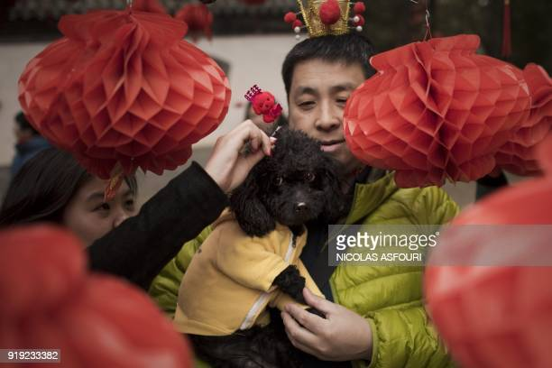 A woman puts a decoration on her dog as a man holds it as they pose for a photo next to a tree decorated with lanterns at a fair to celebrate the...